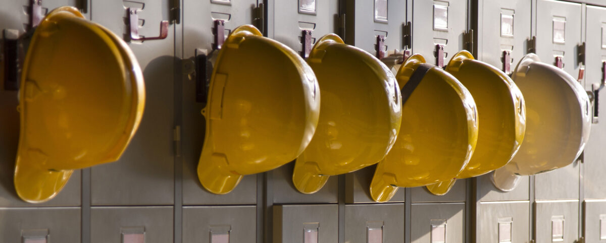 Yellow Safety Helmets on Lockers