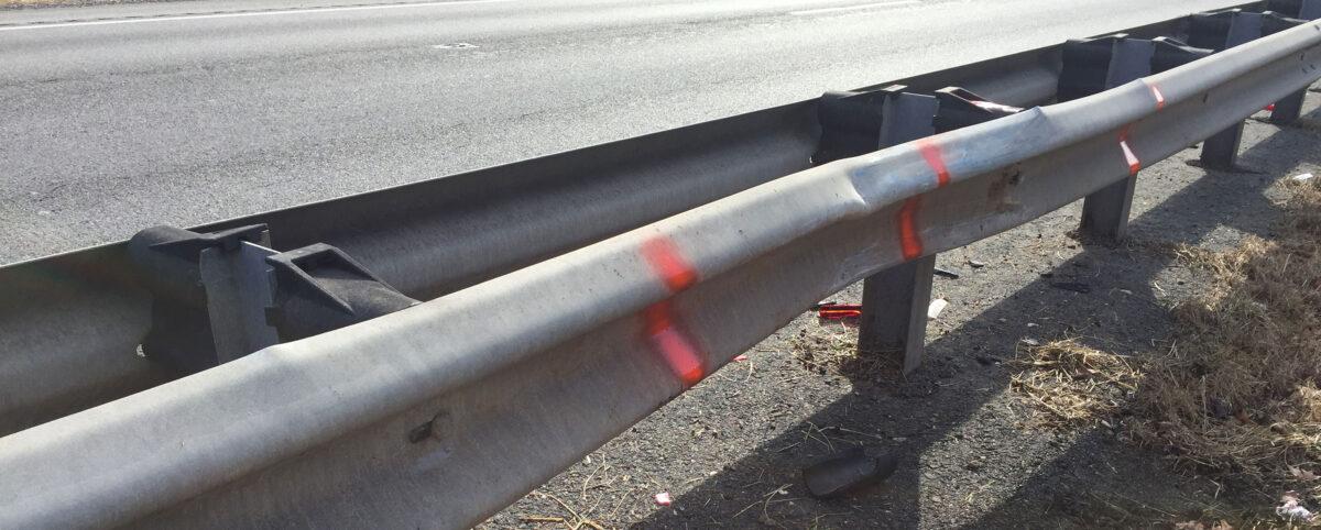 Damaged Highway Guardrail