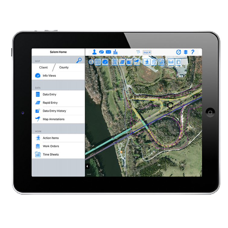 Aerial Map in Application on Tablet